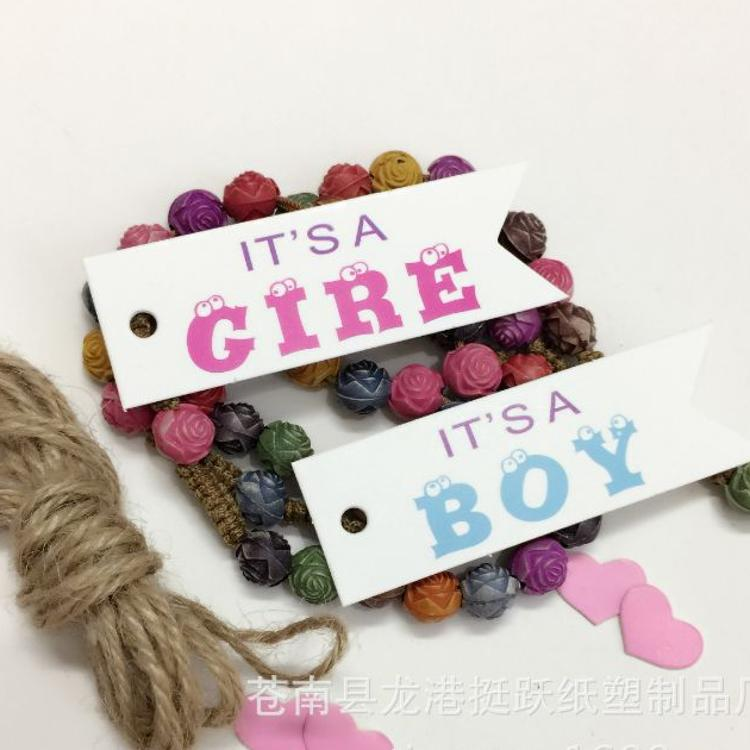 现货 爆款情人节主题Boy&Gire鱼尾旗子吊牌 DIY 烘焙 礼物 标签