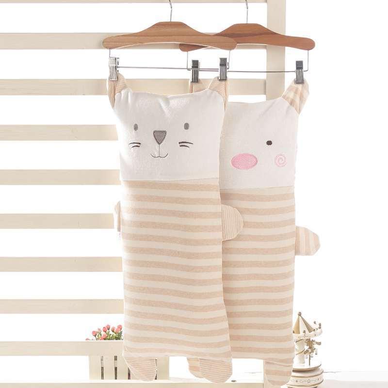 工厂批发 纯棉婴儿枕彩棉卡通枕头 丝棉枕芯宝宝定型枕婴儿枕头