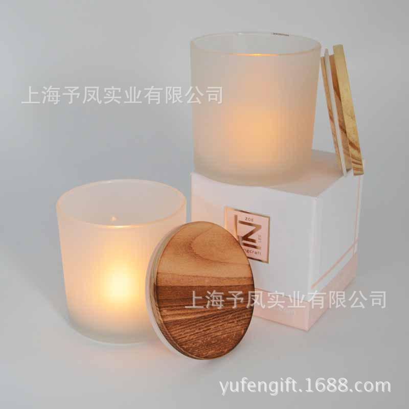 玻璃蒙砂烛台杯配盖子礼盒 香薰香氛蜡烛玻璃工艺品  浪漫家居装