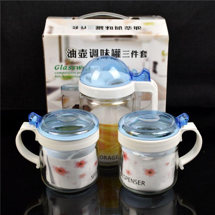 新款油壶三件套 玻璃控油壶调味罐3件套 油壶套装厨房用品批发