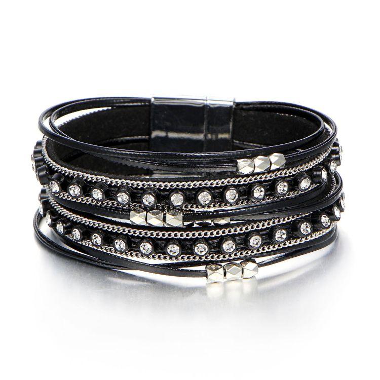 欧美跨境新款多层pu皮革手链 黑色时尚镶钻磁铁扣手链手饰批发
