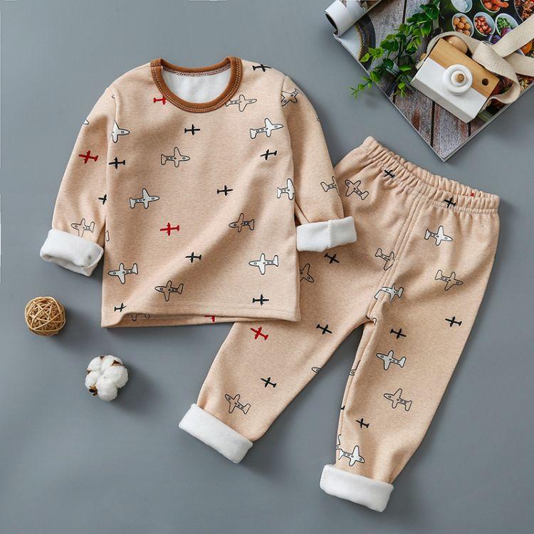 儿童秋冬新款加绒牛奶丝内衣套装卡通套头保暖两件套一件代发