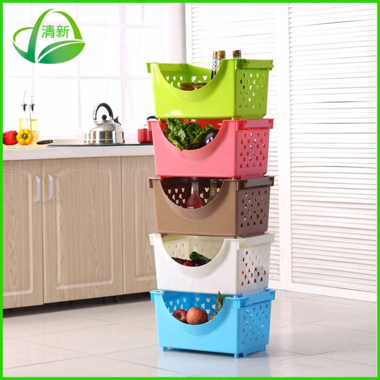 厂家直销 特大号加厚塑料厨房卡通收纳篮 蔬菜水果收纳筐收纳篮
