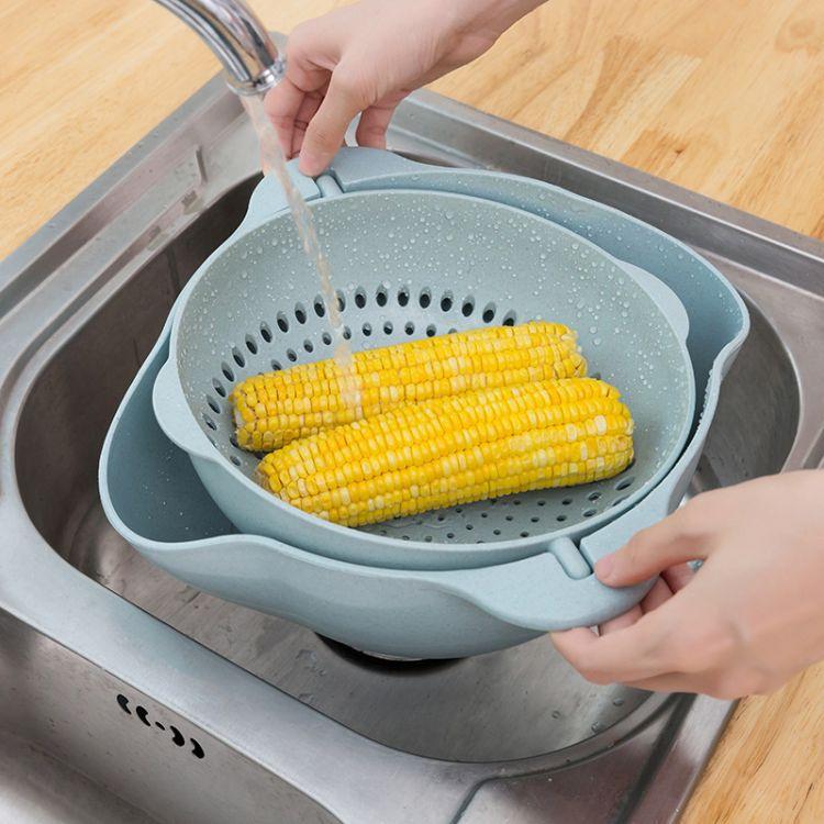 双层沥水篮 抖音同款洗菜神器 懒人水果盆 小麦秸秆大号沥水篮