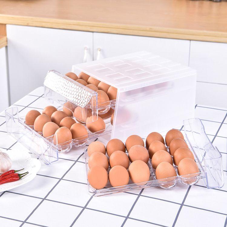 廠家直銷透明雞蛋收納盒34格分層抽屜式大容量保鮮雞蛋盒 批發
