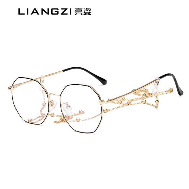 新款金屬復古防藍光眼鏡文藝近視眼鏡多邊形不規則不銹鋼平光鏡