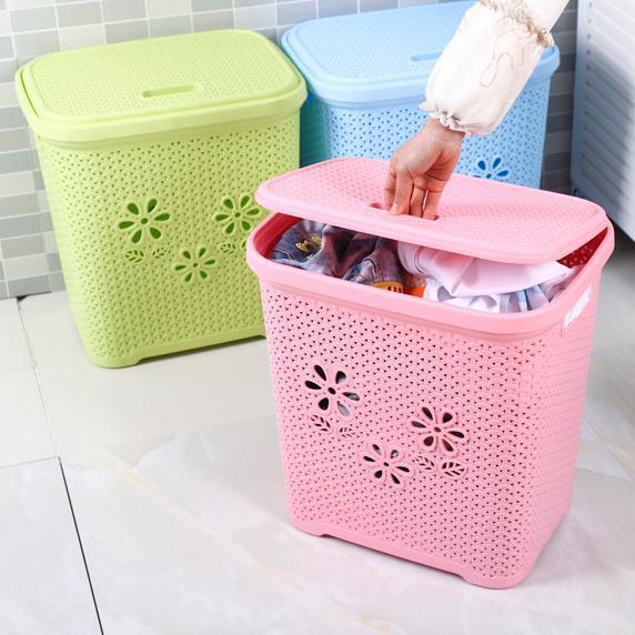 带盖收纳篮塑料浴室脏衣服篓卫生间编织收纳筐大号卧室衣物整理筐