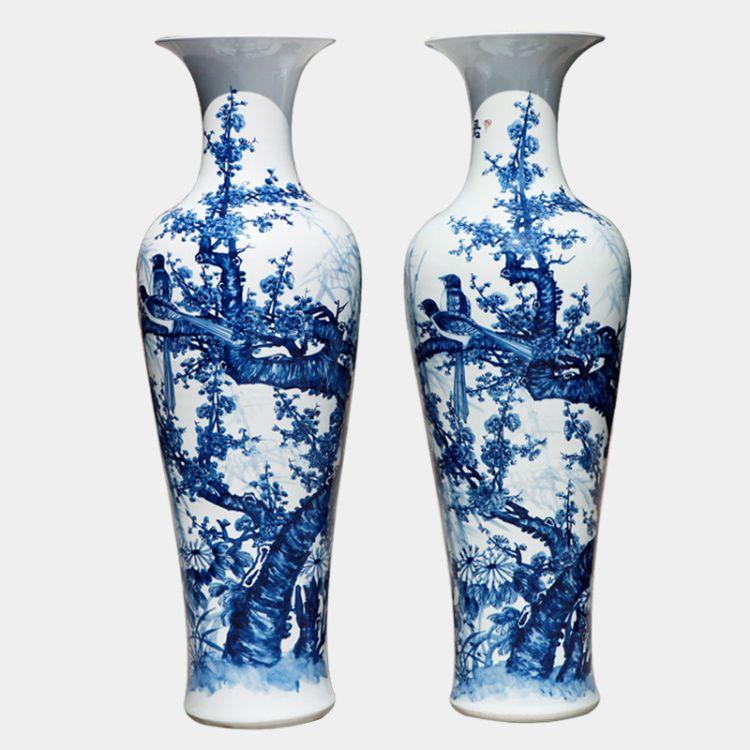 景勤陶瓷花瓶 青花瓷手绘梅花喜上眉梢落地大花瓶 陶瓷 工艺摆件