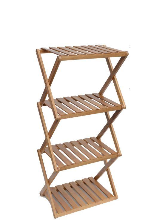 厂家直销三层折叠置物架 竹制折叠架花架架架子三层置物架
