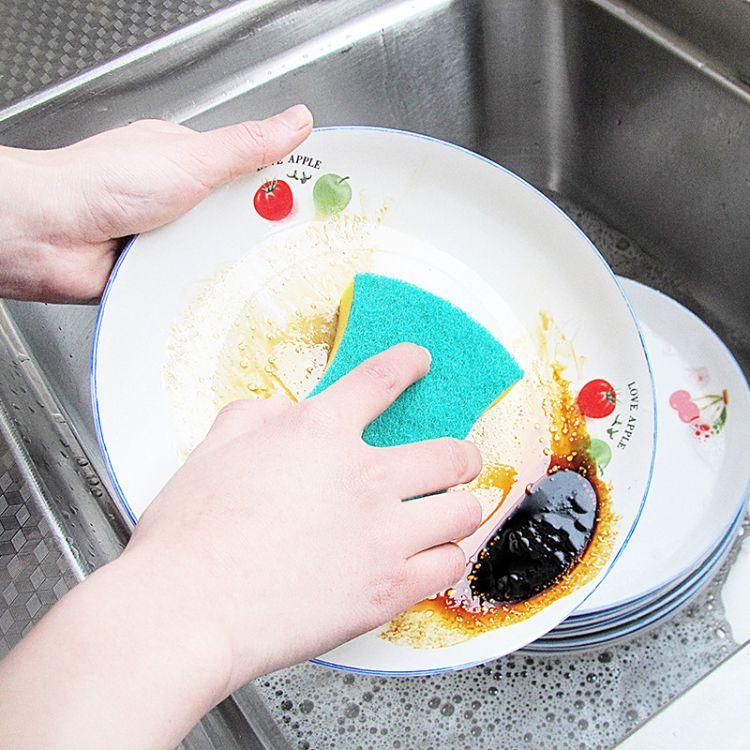 高密浸胶洗碗清洁海绵 腰型海绵百洁布 厨房洗碗海绵擦 厂家直销