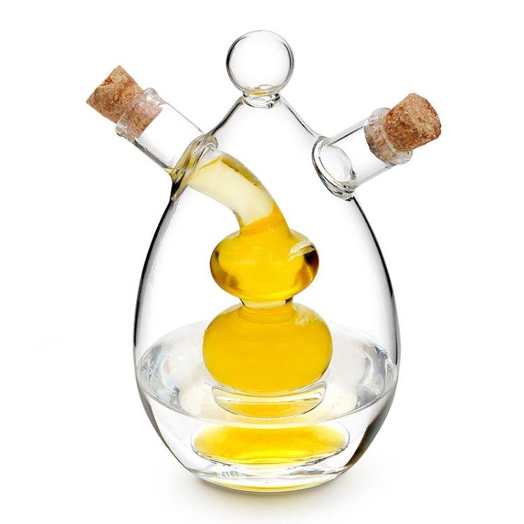 通透无铅高硼硅玻璃材质 软木塞 油醋瓶二合一160g/130g