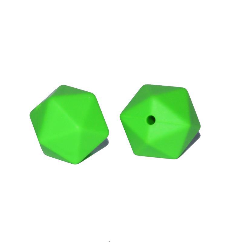 17MM20面体多边形硅胶珠子 儿童安抚链硅胶项链手环DIY饰品硅胶珠