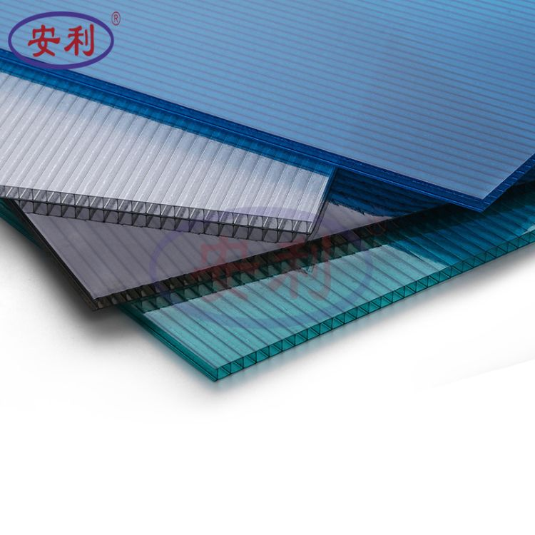 安利牌pc双层中空阳光板 车棚雨棚蓬材料 采光透明蓝绿各色阳光板