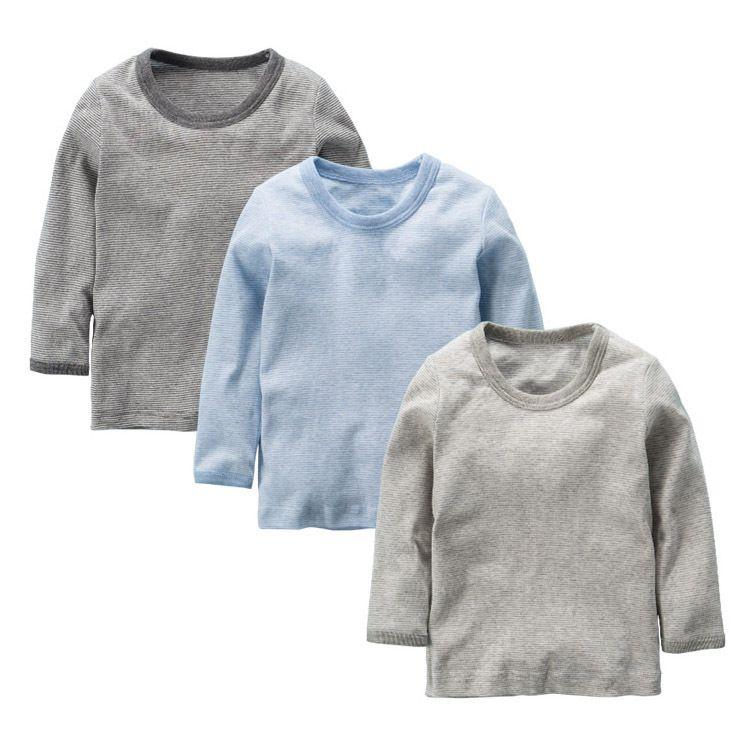 2019年新款蓝色条纹海军风薄螺纹童秋衣T恤打底衫长袖儿童男女童