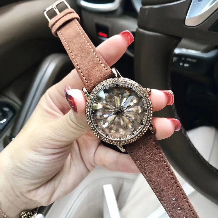 Mashali玛莎莉手表时来运转女表时尚焦糖色镶钻石英皮带腕
