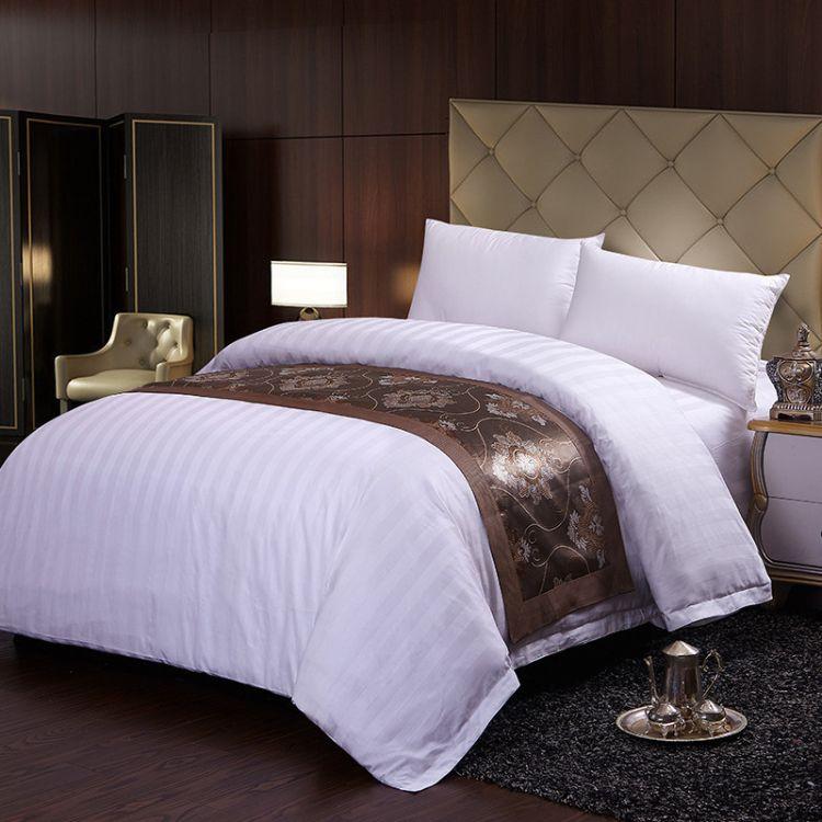 五星级酒店白色布草宾馆床上用品四件套全棉贡缎提花被套床单