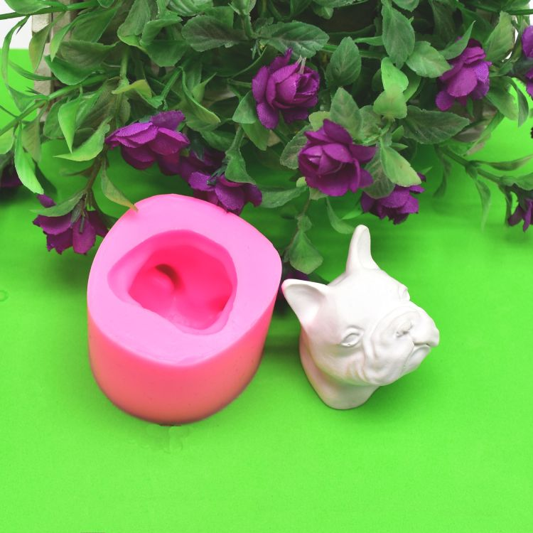 原版DIY模具 法国斗牛犬造型 狗头硅胶模具 香薰蛋糕巧克力模具