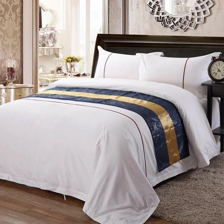 厂家直销 酒店布草纯白全棉四件套 欧式贡缎提花床上用品宾馆产品