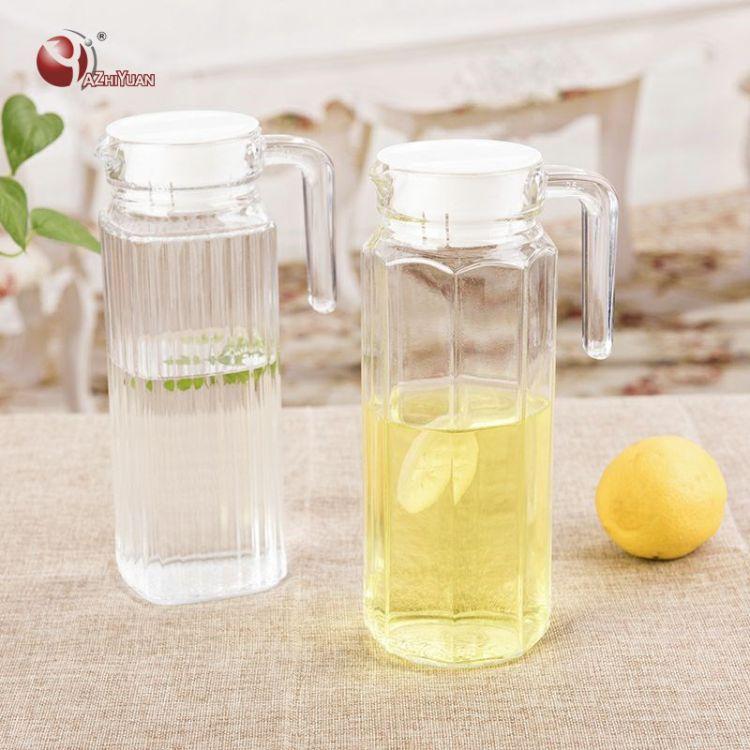 厂家直销玻璃冷水壶大容量玻璃八角壶加厚凉水壶水具条形壶定制