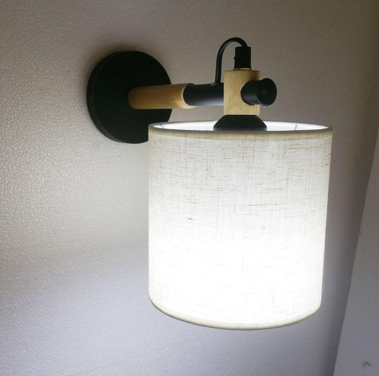 北欧简约木艺壁灯创意韩国木艺客厅卧室书房走廊灯艺术实木壁灯