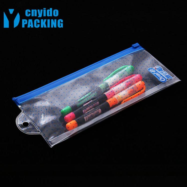 直销透明EVA拉链袋 EVA挂子插底拉链印刷袋定制 透明EVA笔袋定做
