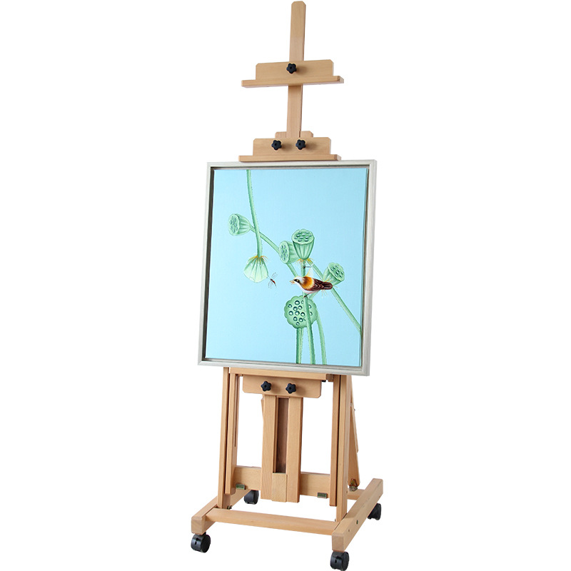 进口榉木制 小平立两用国画油画落地木质画架 升降平放折叠画架