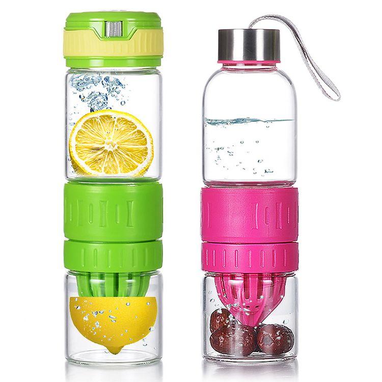 活力瓶 玻璃柠檬杯 玻璃水杯 创意水果杯子随手榨汁杯子