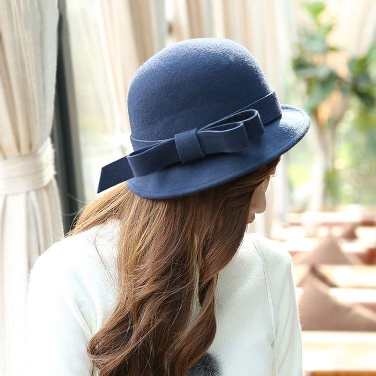 禮帽女秋冬英倫名媛羊毛小沿帽可愛復古韓版時尚百搭氈帽毛呢帽子