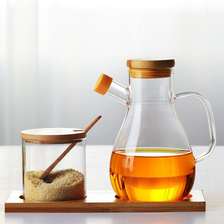 水滴油瓶玻璃透明防漏油壶家用日本厨房油罐酱油醋大号调味储物瓶