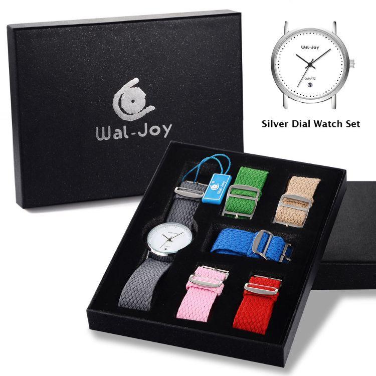 Wal-Joy女士休闲6色尼龙帆布带手表套装 简约日历表盘防水石英表