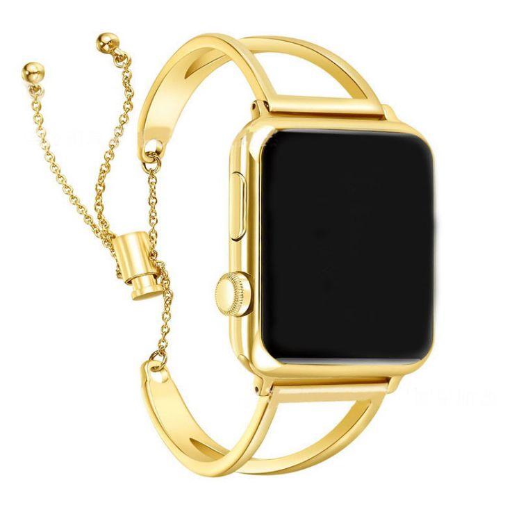 適用蘋果apple watch手表表帶新款V字不銹鋼手鐲玫瑰金鏈式表帶女