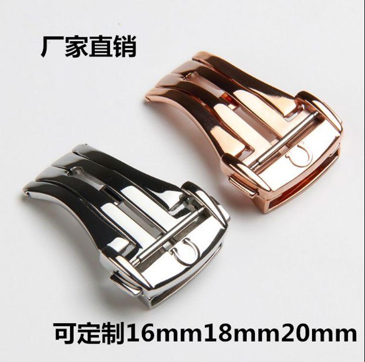 生產手表表扣蝴蝶扣不銹鋼表扣配件折疊扣20mm18mm皮表帶蝴蝶扣