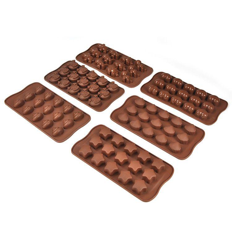 圣诞节15连巧克力硅胶模具 DIY手工爱心饼干蛋糕模具 烘焙模具