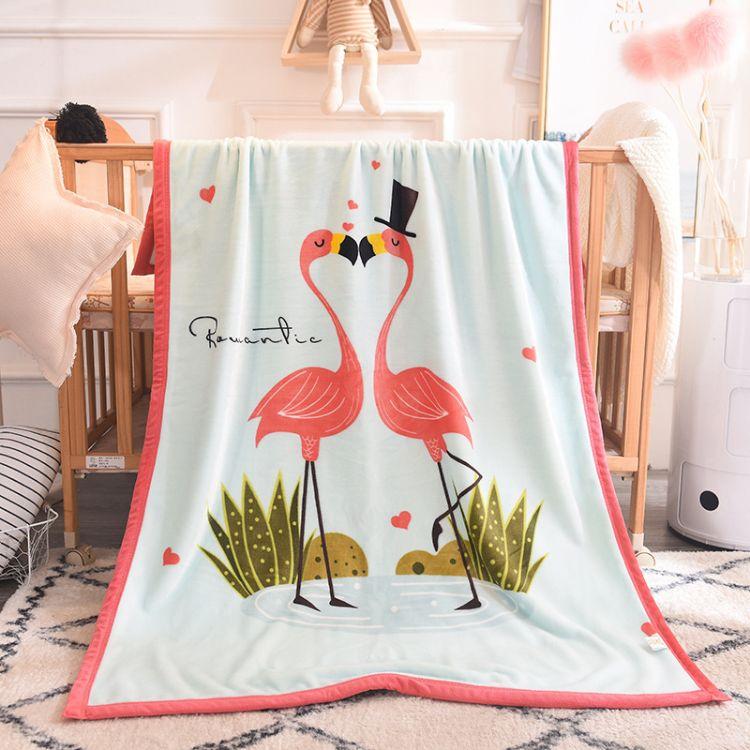 ins卡通儿童法兰绒毯子幼儿园午睡毯珊瑚绒膝盖毯羊羔绒婴儿毛毯