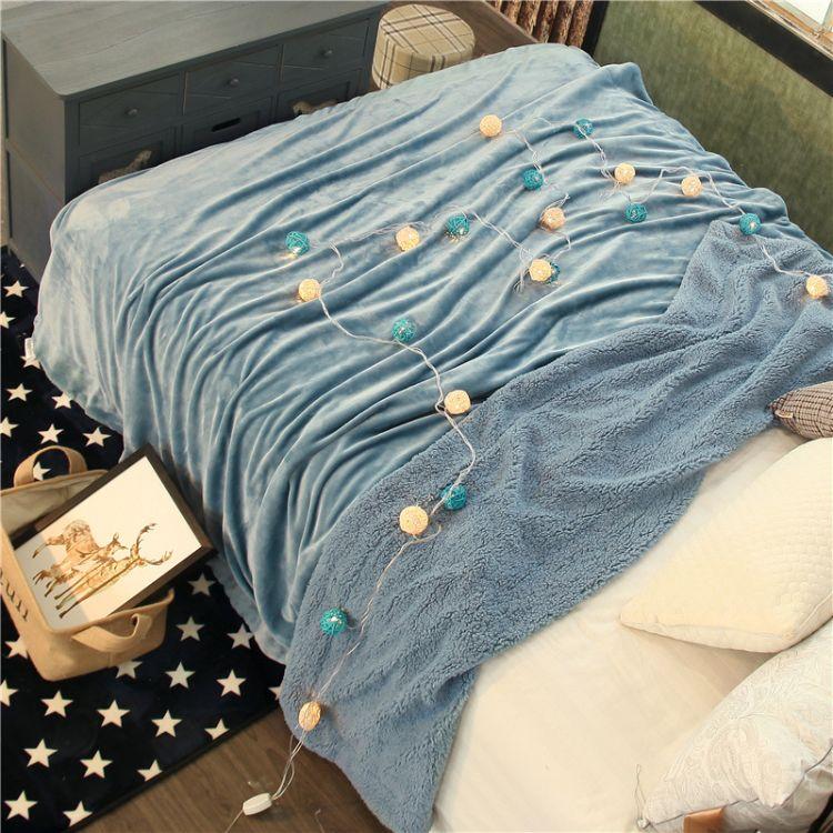 新款纯色双层羊羔绒毛毯可定做加厚法兰绒毯子保暖珊瑚绒礼品毯