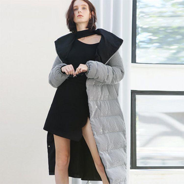 原创设计师馆-041新款冬季加厚中长款连帽收腰茧型面包棉服女