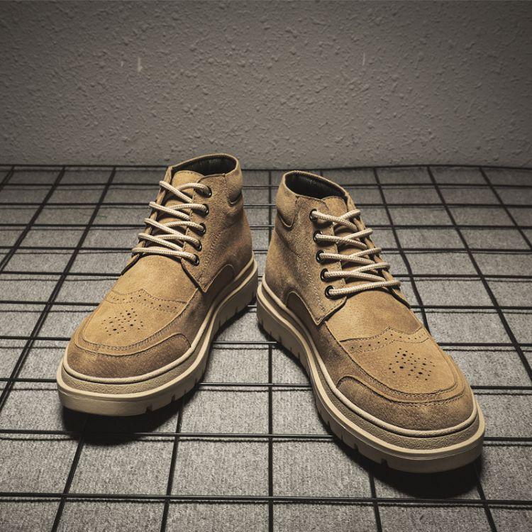 马丁靴男英伦真皮中帮短靴冬季工装男鞋潮男靴子百搭军靴高帮秋季
