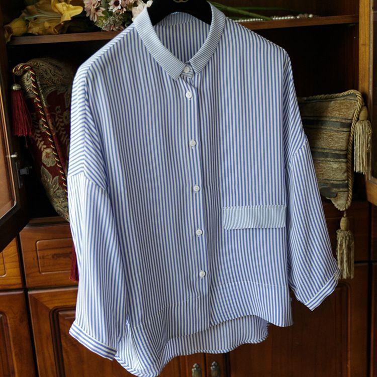 现货厂家批发 心生好感清新纯粹气质蓝条纹小翻领双绉真丝衬衫女