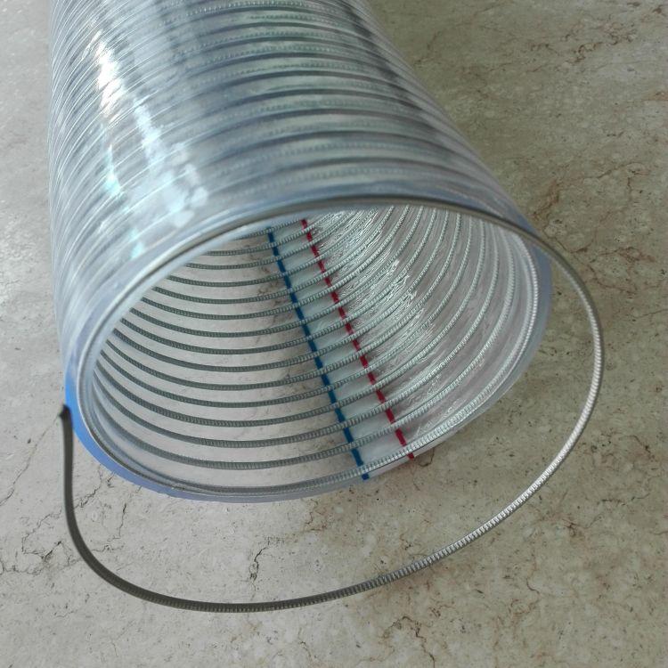 厂家生产PVC钢丝管 透明钢丝软管 塑料钢丝螺旋管 型号多样可订制