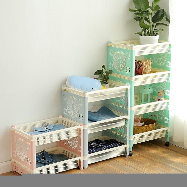 家用厨房卫浴带轮可移动置物架收纳架 浴室大号多层储物架落地架