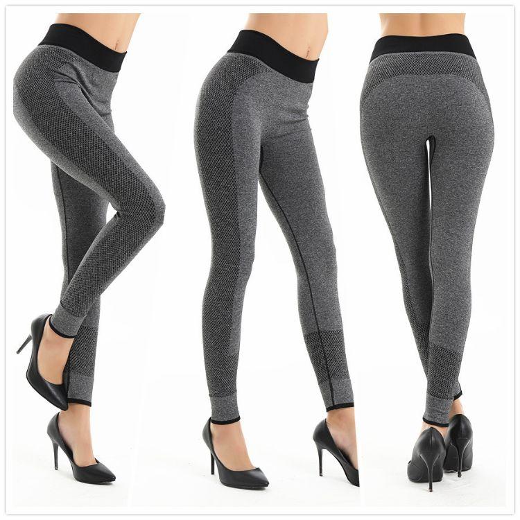 跨境热销速干运动健身瑜伽裤 高弹运动瑜伽裤九分裤灰色瑜伽裤