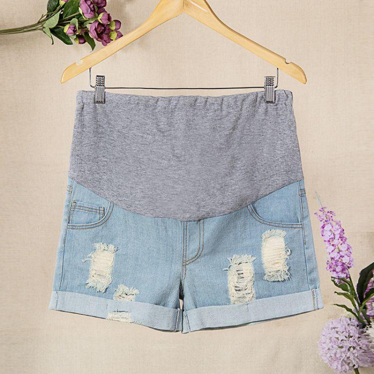 夏季孕妇牛仔短裤 破洞 卷边 热裤 三分裤 孕妇用品