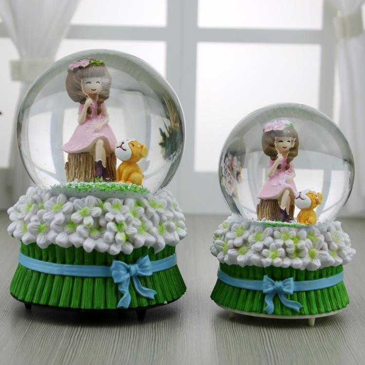带灯雪花创意旋转浣纱可爱女孩水晶球音乐盒 八音盒女生生日礼物