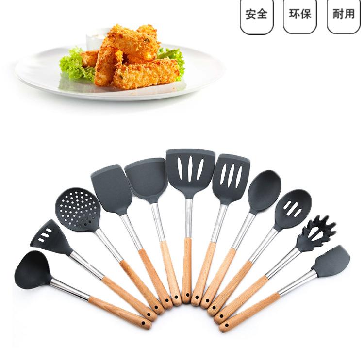 不锈钢硅胶锅铲 木手柄硅胶厨具11件套装 食品级硅胶厨具套装批发