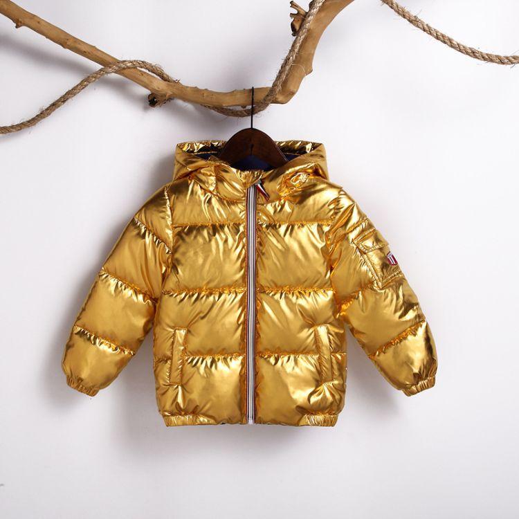 2018年冬季新款童装羽绒服 厂家直销现货烫金面料儿童羽绒服