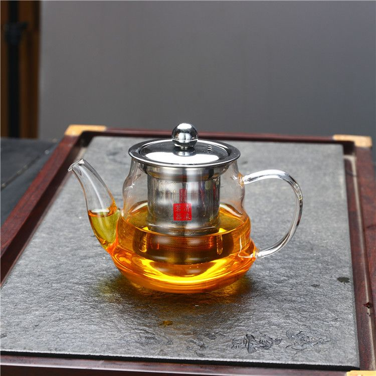 不锈钢过滤玻璃茶壶 煮泡茶壶耐热高温玻璃水壶 花茶壶茶具批发