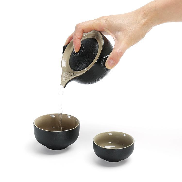 禅风石头釉黑陶快客杯 手抓茶壶一壶两杯便携式车载旅行茶具套装