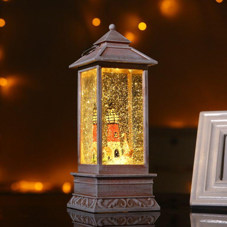 灯塔塑料风灯 led旋转烛台走马灯节庆礼品工艺品小夜灯马提灯批发