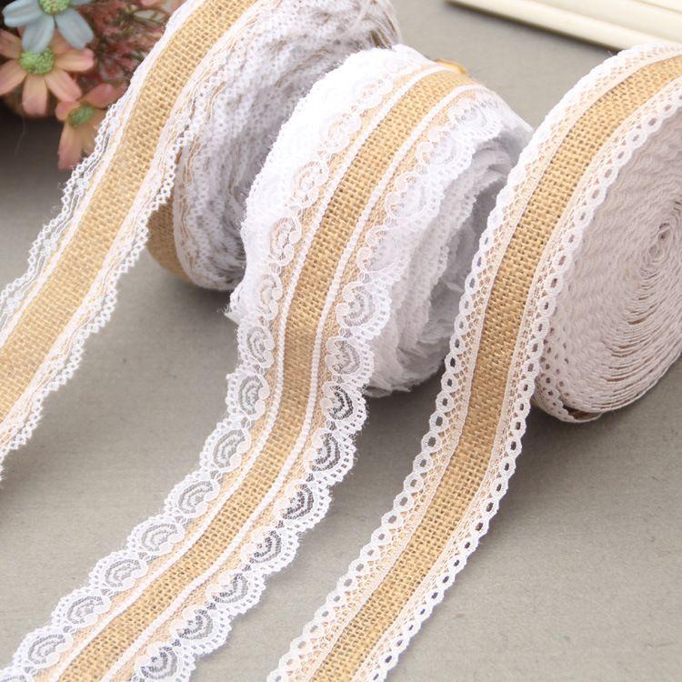 蕾丝麻布卷 diy圣诞工艺装饰麻布卷麻绳编织带 两边蕾丝缎带