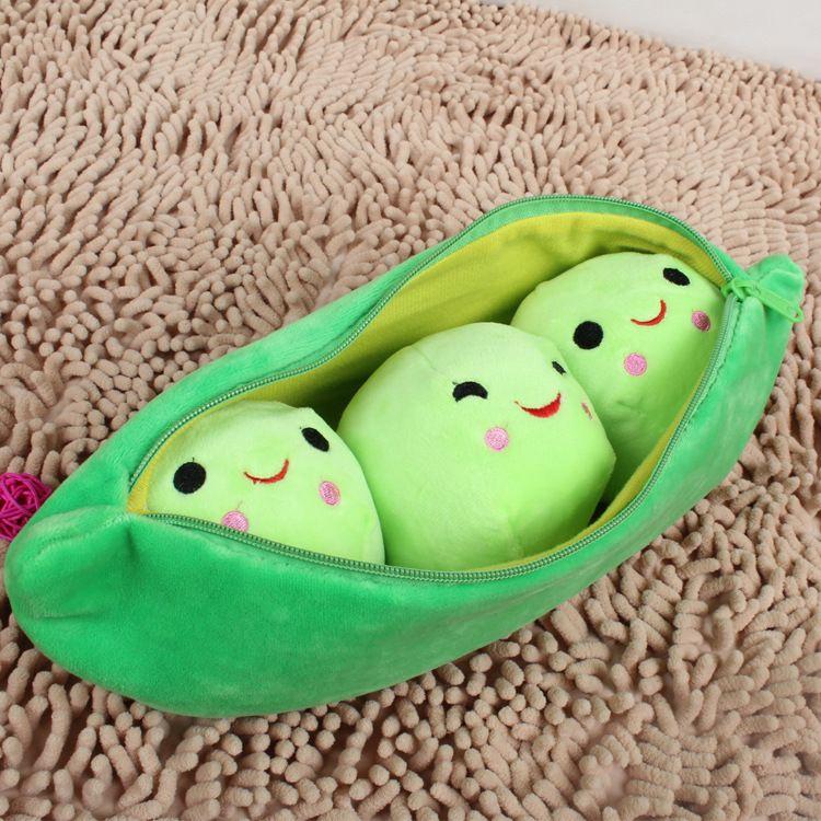 卡通豌豆荚毛绒玩具 豌豆荚抱枕 创意儿童个性礼物毛绒玩具批发